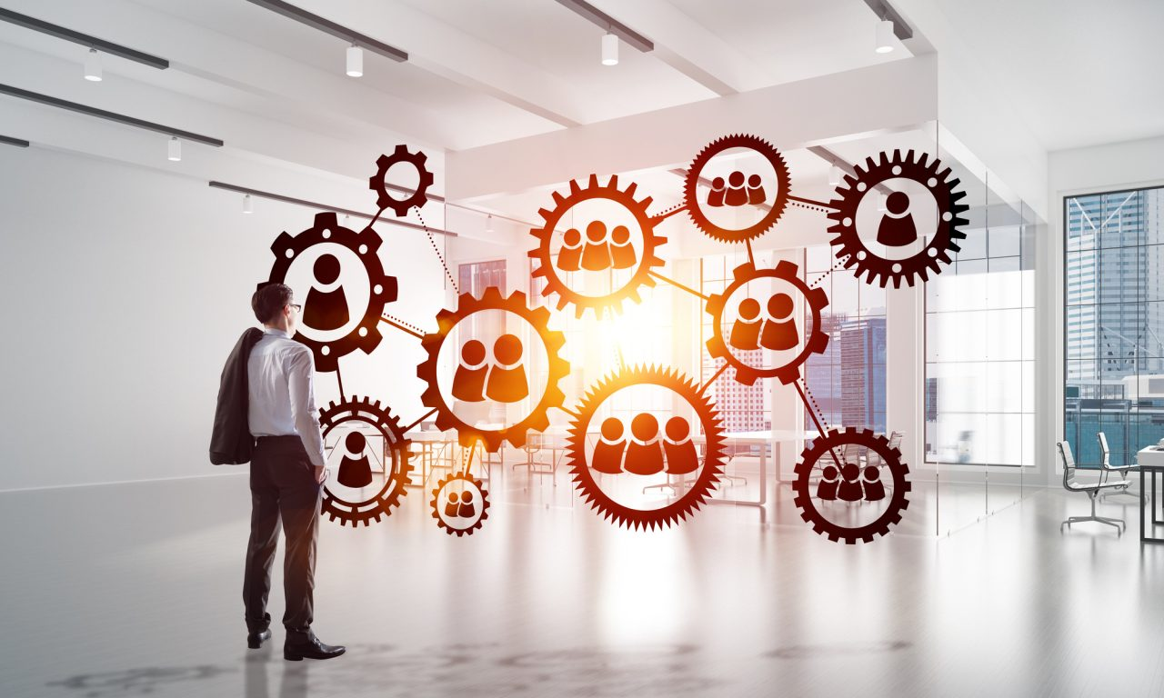 Networking and social communication concept as effective point for modern business